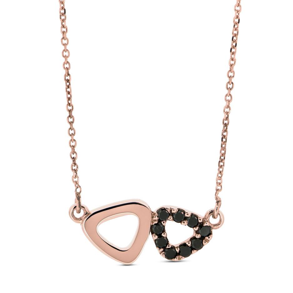 Rose Gold Black Diamond Double Pebble Pendant Adina Jozsef