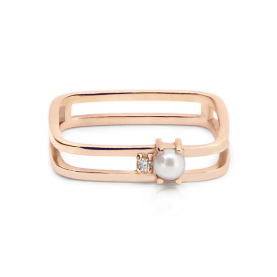 Adina Jozsef - Akoya Pearl Rose Gold Grace Ring