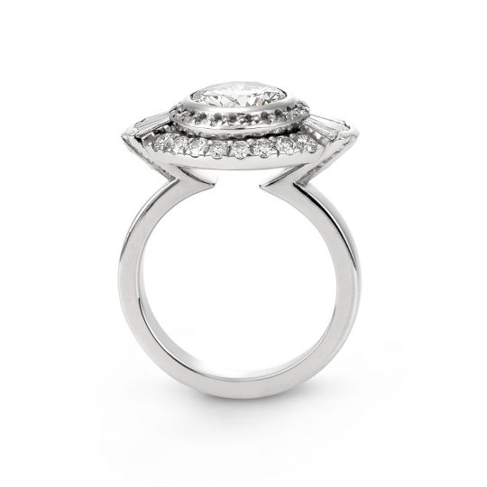 Modern double halo diamond engagement ring with baguettes