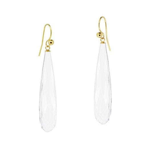 18ct Yellow gold hooks long clear quartz