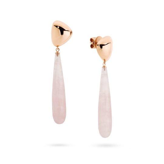 Adina Jozsef - Rose gold and rose quartz earrings