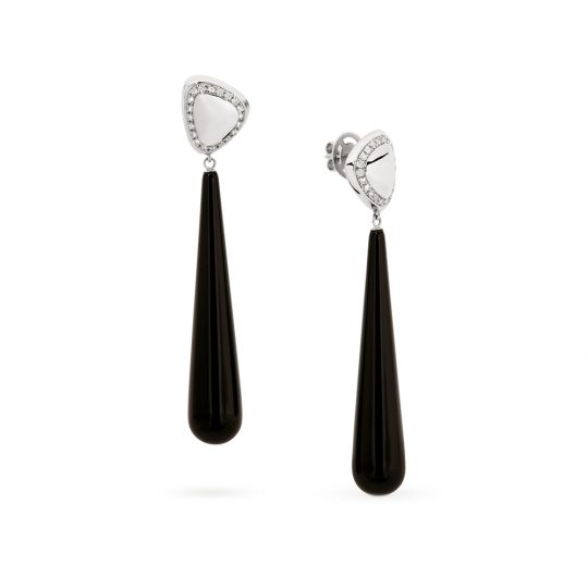 Adina Jozsef - White Gold Pave Diamond & Onyx Pebble Earrings