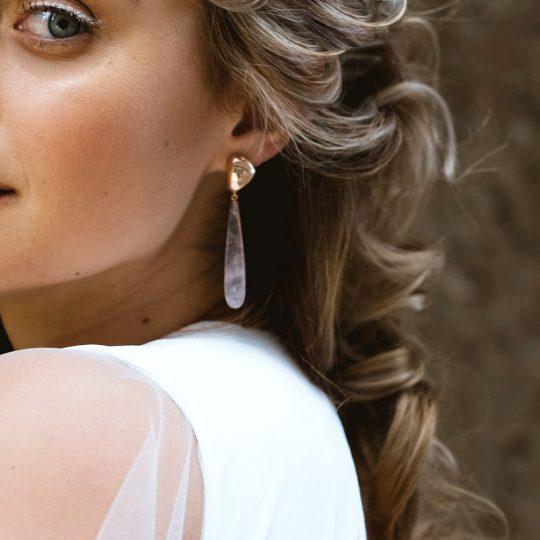 Adina Jozsef - Rose Gold And Rose Quartz Pebble Earrings